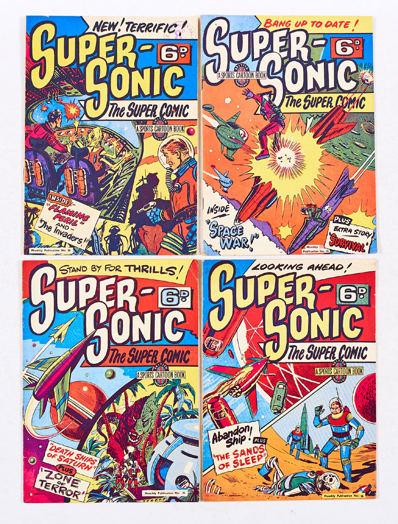 """Striking covers for Super-Sonic, published in the 1950s by Sports Cartoons Ltd. Featuring art by """"Jeff Hawke"""" co-creator Sydney Jordan. From the Peter Hansen Archive"""