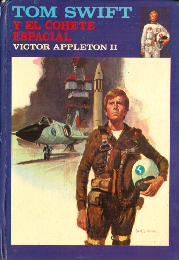 A by Badia Camps for the science fiction juvenile adventure books Tom Swift, by Victor Appleton II (Harriet Adams), published by Editorial Molino (1977)