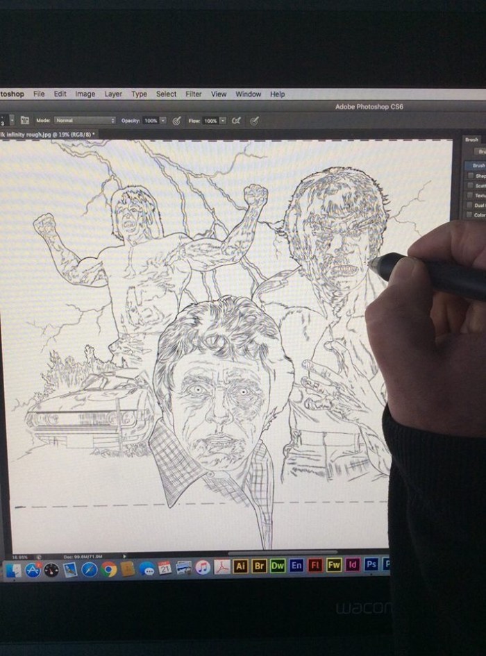 Pete Wallbank at work on his Incredible Hulk cover for INFINITY Issue 20