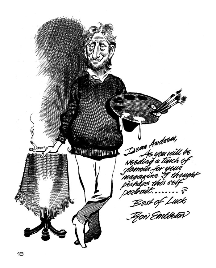 Self portrait by Ron Embleton, including a message to Andrew Skilleter, published in Ultima Thule
