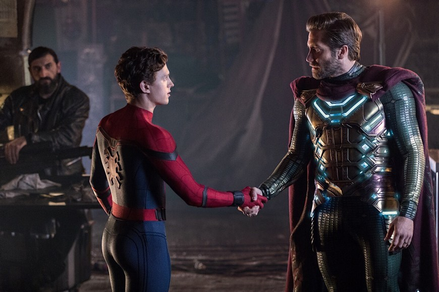 Left to right: Numan Acar, Tom Holland and Jacky Gyllenhaal in Columbia Pictures' Spider-Man: Far From Home