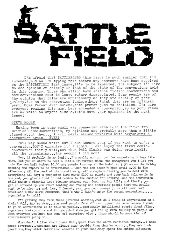 """Harsh words for early British comic conventions from Steve Moore in Fantasy Advertiser #32's """"Battlefield"""" section"""