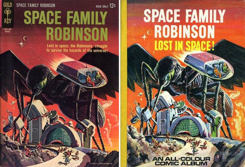 Left, a Gold Key Lost in Space comic and right, Walt Howarth's version of the same image, for a World Distributors British annual cover. With thanks to Philip Rushton