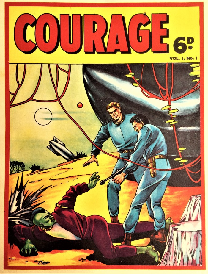 L. Miller's Courage #1. The cover is believed to be the work of Mick Anglo