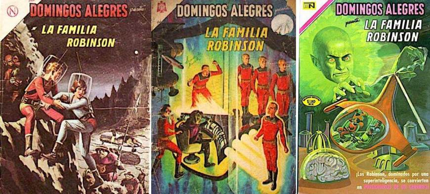Covers for Domingos Allegres, the first Space Family Robinson series published in Mexico from 1964 onwards
