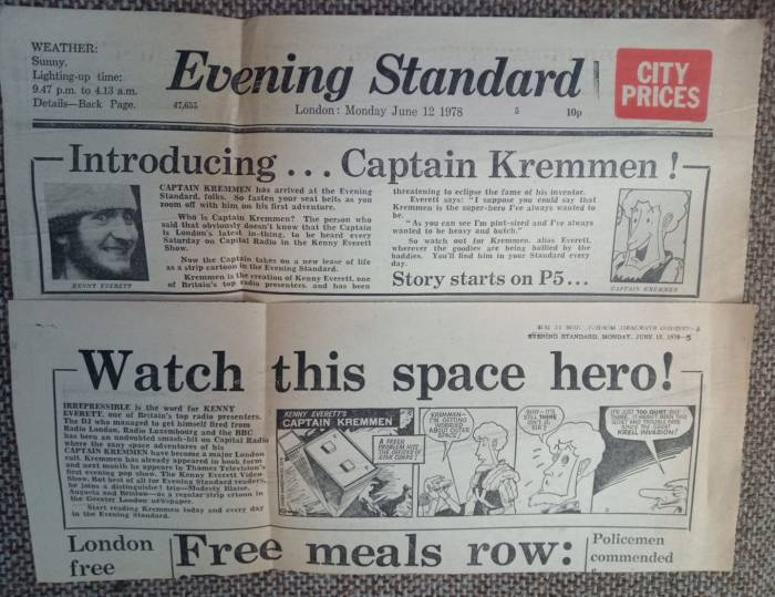 "The Evening Standard announces the arrival of ""Captain Kremmen"" in the paper in June 1978. Photo with thanks to Philip Zunzuncito Sequoia‎"
