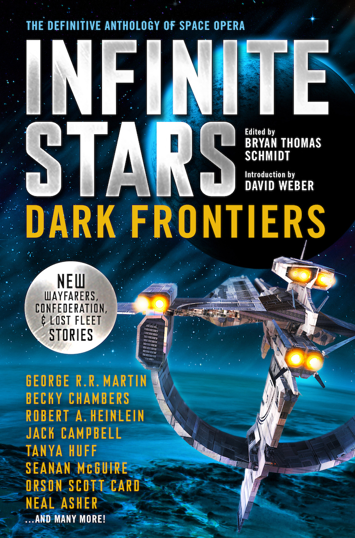 Infinite Stars: Dark Frontiers. Cover design by Julia Lloyd