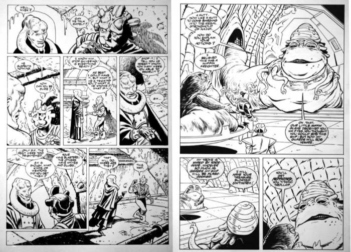 Two pages from Star Wars: Jabba the Hutt, pencils by Art Wetherell. Via ComicArtFans