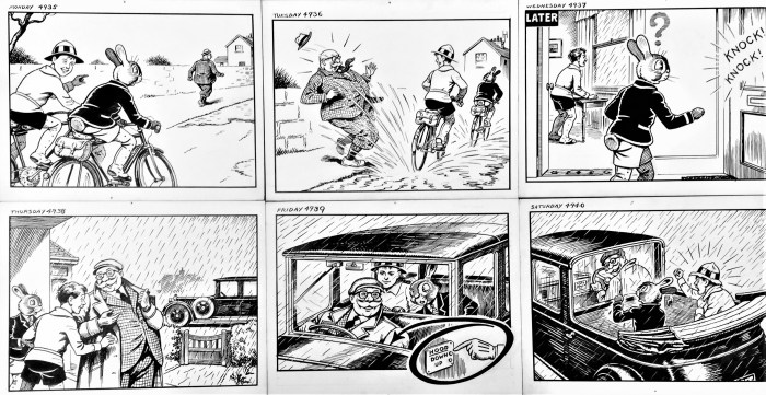 """Panels from the """"Billy and Bunny"""" newspaper strip by James Leuchars Crighton, courtesy Peter Hansen"""