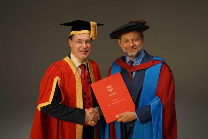 Lancaster University's Vice-Chancellor Professor Mark E. Smith and actor Andy Serkis. Photo courtesy Lancaster University