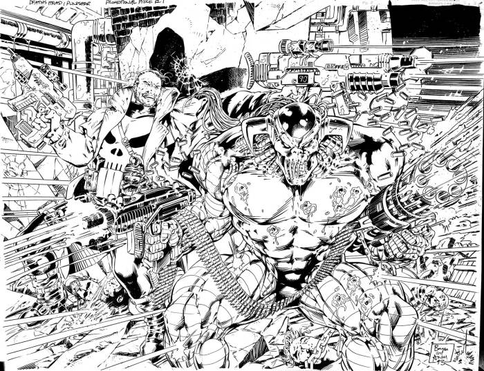 """Punisher versus Death's Head"" art by Bryan Hitch and Andy Lanning, courtesy of Adrian Clarke of GetMyComics"
