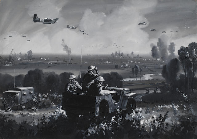"""How the Air Arm assists the Land Forces in the Normandy battle Zone."" by Roland Davies published in The Sphere No. 2322, cover dated 22nd June 1944. Auctioned by Bonhams in 2014, it is probably based on a photograph, showing the RAF and US Army cooperating in directing fighters onto German targets on the Normandy plain."