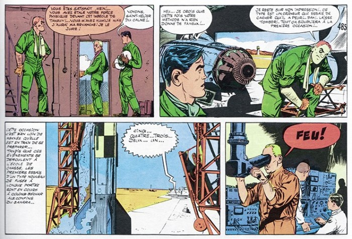"The original section from Tanguy and Laverdure story ""L'Ecole des Aigles"" used in Lion. It's interesting to note the revisions to the artwork, presumably to make it fit the space better (and the fact that a speech bubble was removed, where Tanguy/ Jim Power would have tried to calm down the departing officer might indicate that they weren't following the story slavishly"