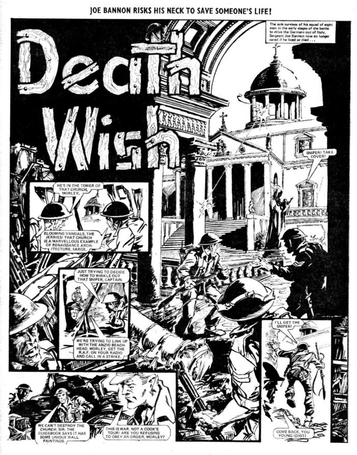 "A page from the Valiant war strip ""Death Wish"", art by Ian Gibson for an episode published in the issue cover dated 12th June 1976. Deathwish began in Valiant in December 1975, drawn by Spanish artist Luis Collado Coch"