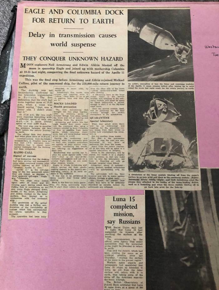 Western Morning News, 22nd July 1969 - Apollo 11's Eagle links with Columbia