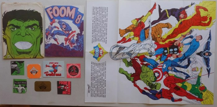 FOOM #8 Marvel Comic Member Pack released in the 1970s, including card, poster and stickers