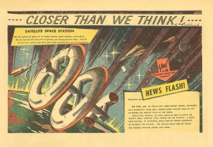 """The first ever """"Closer Than We Think!"""" by Arthur Radebaugh, published in January 1958"""