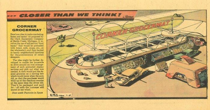 """Closer Than We Think!"" by Arthur Radebaugh -  Corner Grocermat"