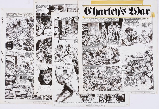 Charley's War: four original artworks by Joe Colquhoun, written by Pat Mills, from Battle-Action 292 (1981) . A complete episode. Charley Bourne discovers a deserter hiding in his house - a French Foreign legionnaire named Blue, who recounts the horror of the front line at Verdun, when a deadly fight breaks out in the house
