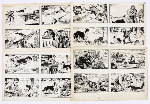 Black Bob: four original 4-panel artworks created in the 1950s by Jack Prout for The Dandy/Black Bob books