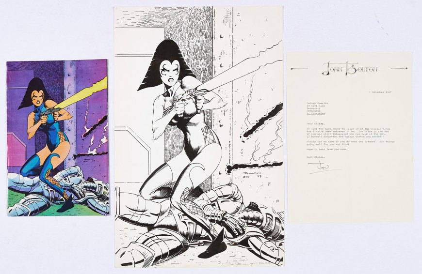 Classic X-Men 14 (1987) Original back cover artwork of Princess Lilandra drawn and signed by John Bolton. With John Bolton headed and signed letter of provenance dated 1 December 1967 and Classic X-Men # 14.