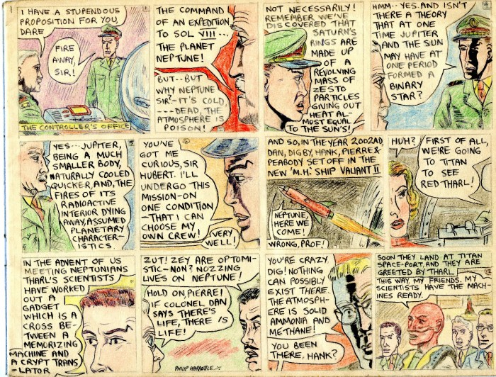 A page from Philip Harbottle's Original Dan Dare story, 'Operation Neptune'