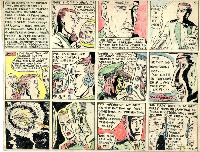 "A page from Philip Harbottle's comic strip adaptation of ""The Adventures of Dan Dare - The Cosmic Umbrella"""