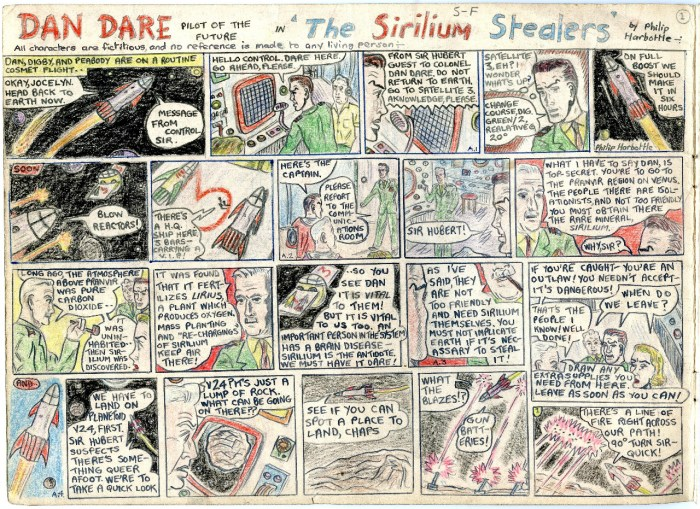 "A page from Philip Harbottle's comic strip adaptation of ""The Adventures of Dan Dare - The Sirilium Stealers"", drawn in 1955"