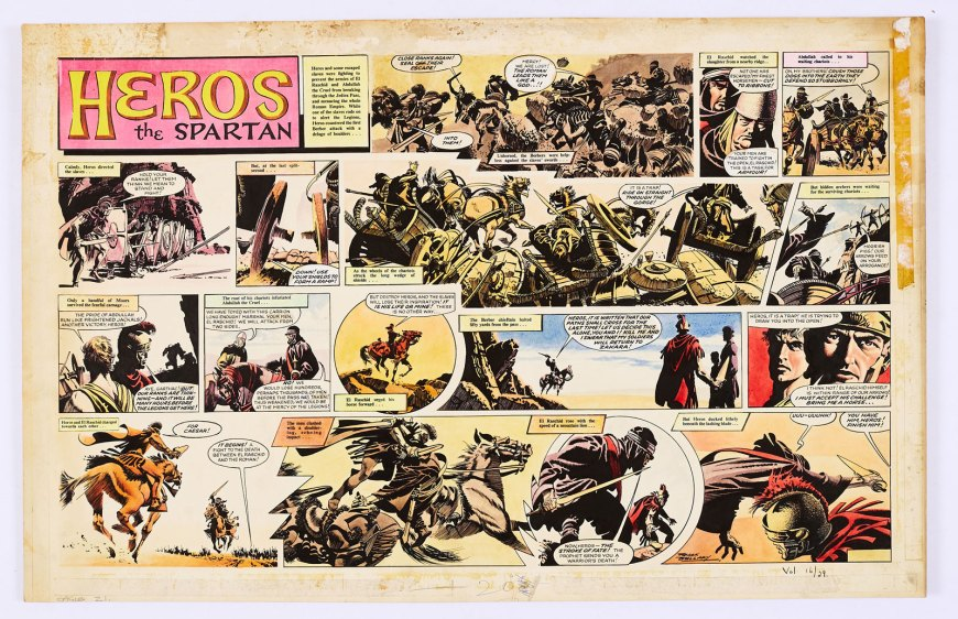 Heros The Spartan double-page original artwork (1965) painted and signed by Frank Bellamy from The Eagle Vol. 16 No 29, 1965. From the Bob Monkhouse Archive. Heros and his renegade slave army counter a ferocious attack from the Berbers and Abdullah the Cruel until the Berber Chieftain, El Raschid, challenges Heros to a deadly duel...
