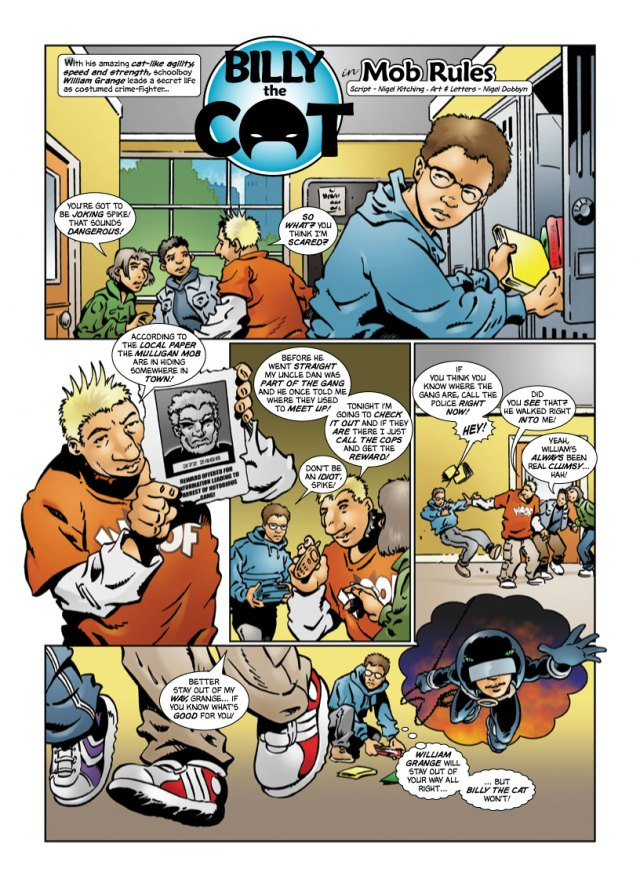 The first Billy strip Nigel drew in 2005, for the 2006 Beano annual). This version is re-lettered by Nigel disliked the original Beano lettering. Script by Nigel Kitching. Billy the Cat © D.C.Thomson and Co. Ltd.