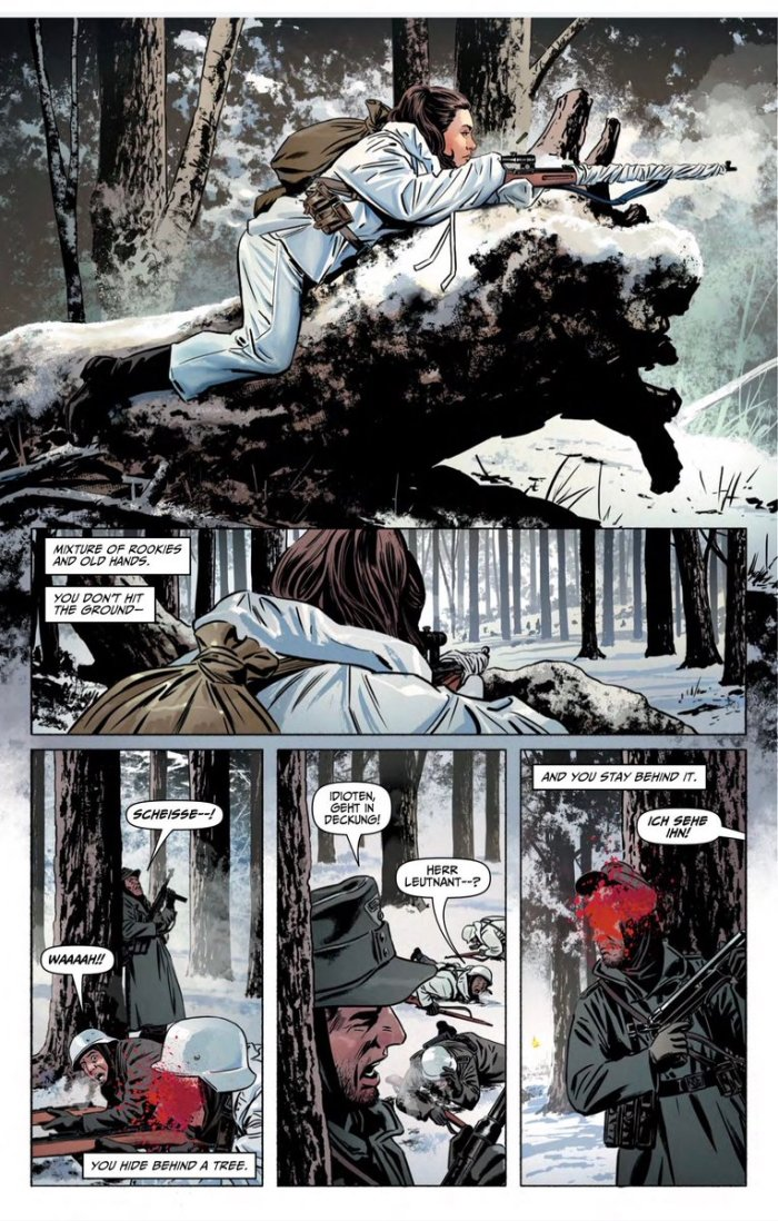 In the second terrible winter of the siege of Leningrad, seven women snipers find themselves caught up in the struggle against the German invader. Their deadliest shot is Sara, whose inner demons may yet prove her undoing. Story by Garth Ennis, with art by Steve Epting, coloured by Elizabeth Breitweiser and published by TKO