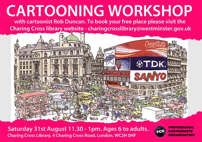 Cartoon Drawing Workshop - Saturday 31st August, 11.00am to 12.30pm