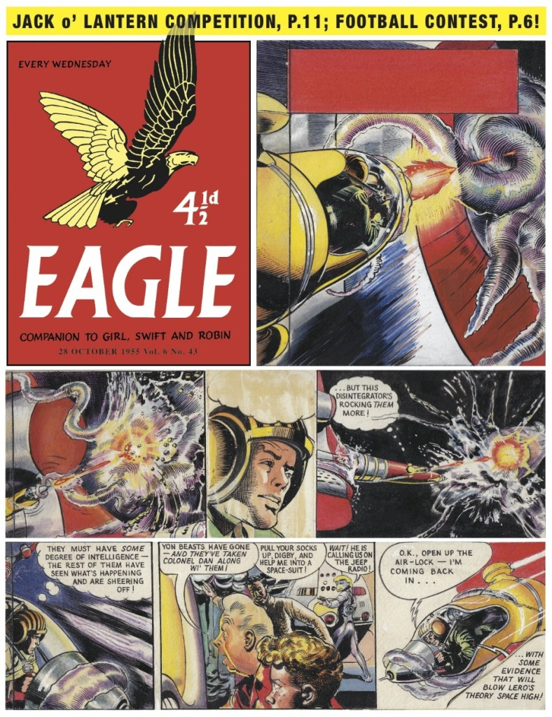 """A page of art from the """"Dan Dare: Man from Nowhere"""" saga spanning a trilogy of stories, first published in Eagle"""