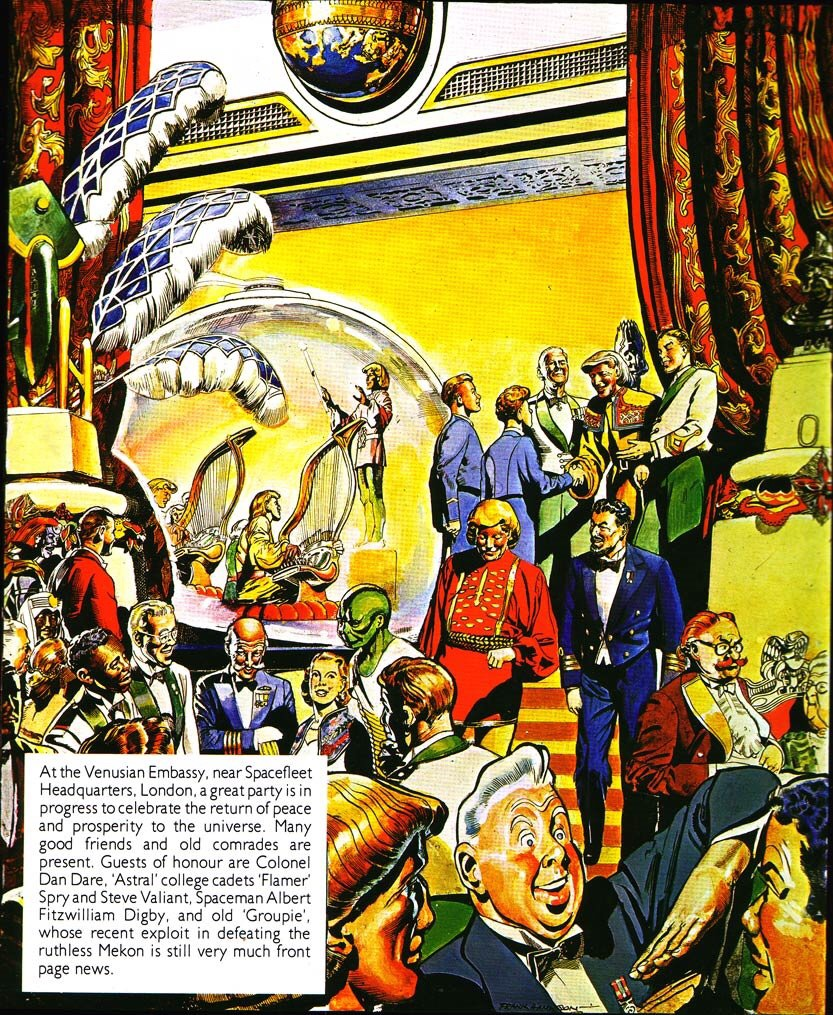 """A redrawn opening panel of """"Dan Dare: Man from Nowhere"""" with art by Frank Hampson and Don Harley, work done for the Dragon's Dream Collection"""