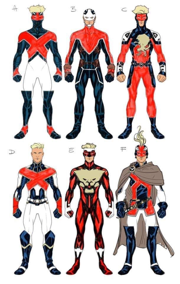 These were some of the alternative designs Mike McKone worked on for the Captain Britain 2099 variant cover