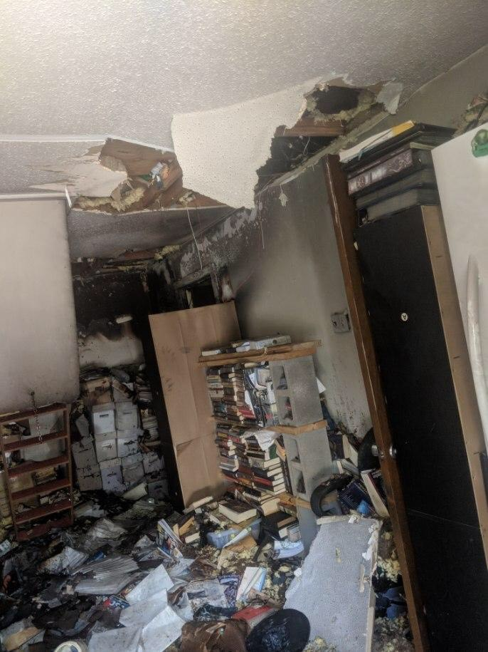 Fire damage after an arson attack on the home of Battlefield Press owner Jonathan Thompson and his family in August 2019