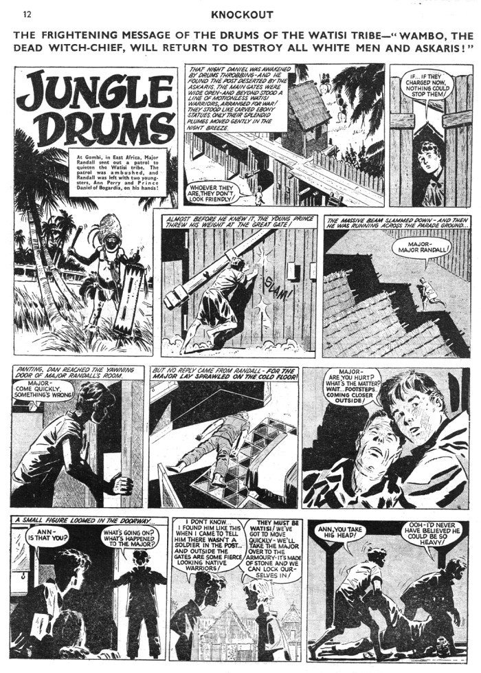 "A page from ""Jungle Drums"", from Knockout cover dated 18th June 1960 - actually Hugo Pratt's ""Anna of the Jungle"" strip"