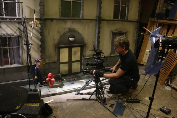 Filming a scene for the new puppet series Mob Street. Image: Camerapeople.TV