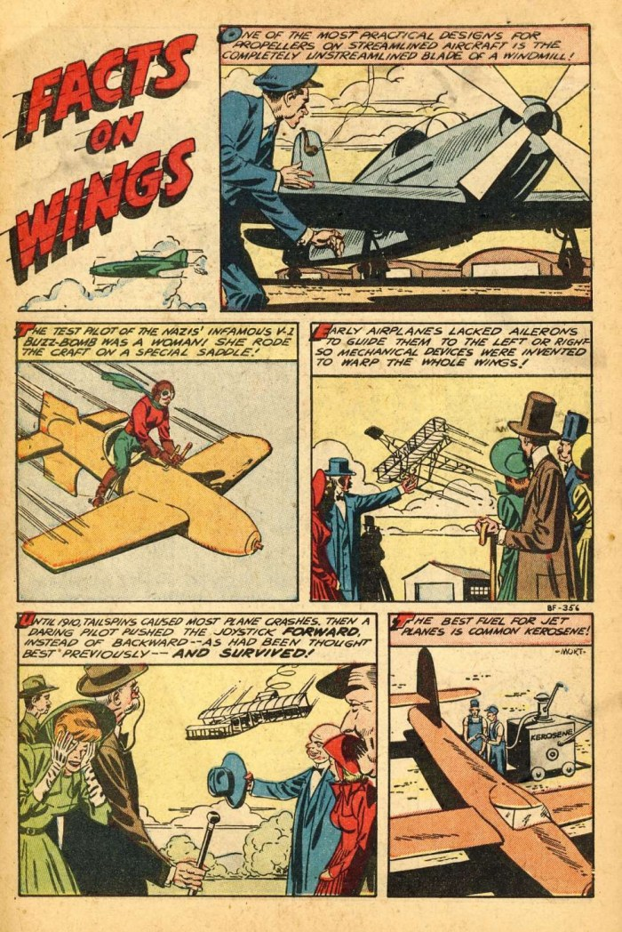 """Facts on Wings"" as published in Jet Fighters #7, art by Mort Meskin"