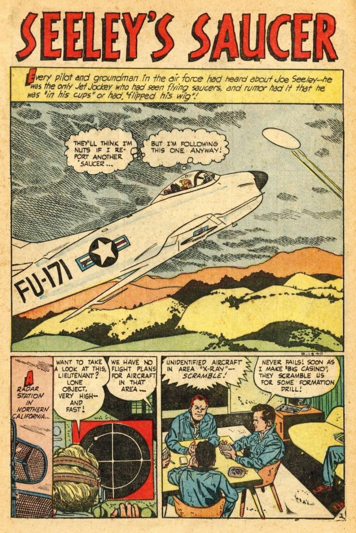 """Seeley's Saucer"" from Jet Fighters #7, art by Alex Toth"