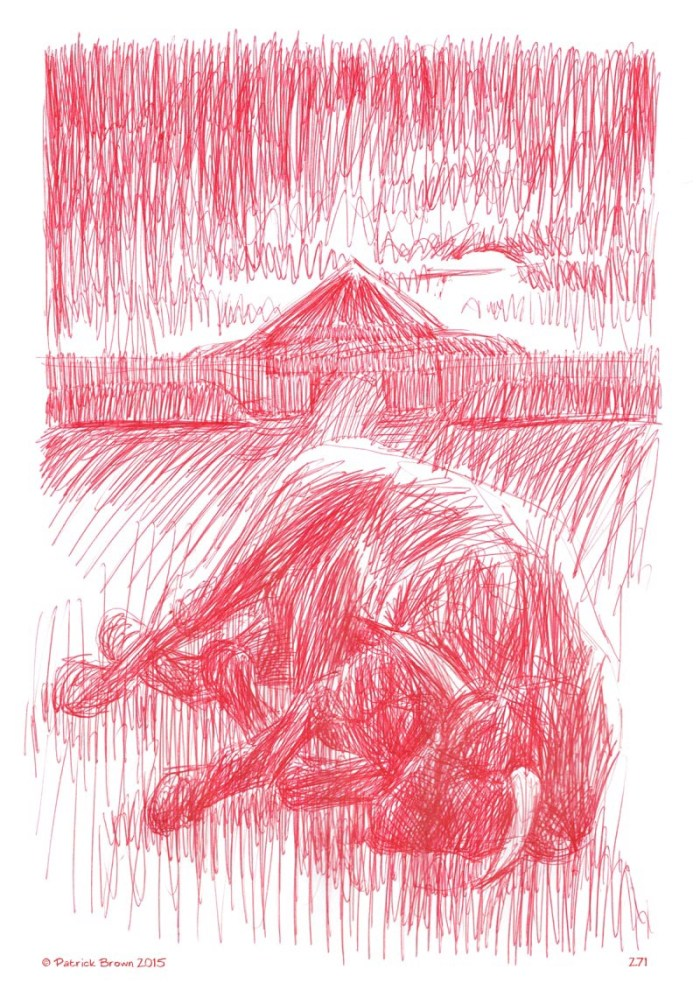 Some of Paddy Brown's distinctive red ink art for The Cattle Raid of Cooley