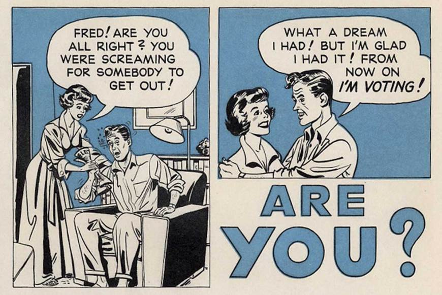 1960s Ballot Boost comic via Comics with Problems