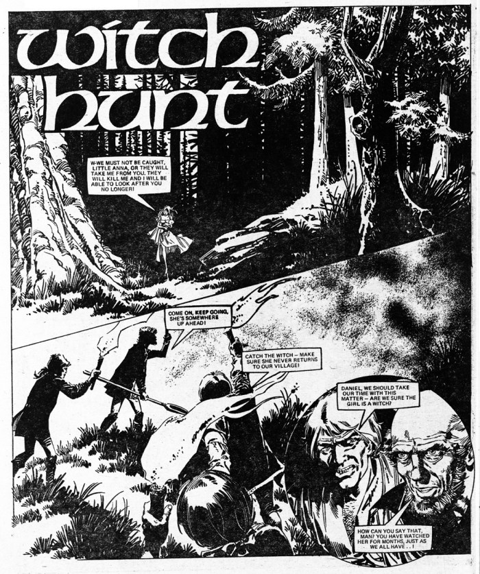 "The opening page of ""Witch Hunt"", published in Misty cover dated 29th December 1979. Art by Jordi Badia Romero"