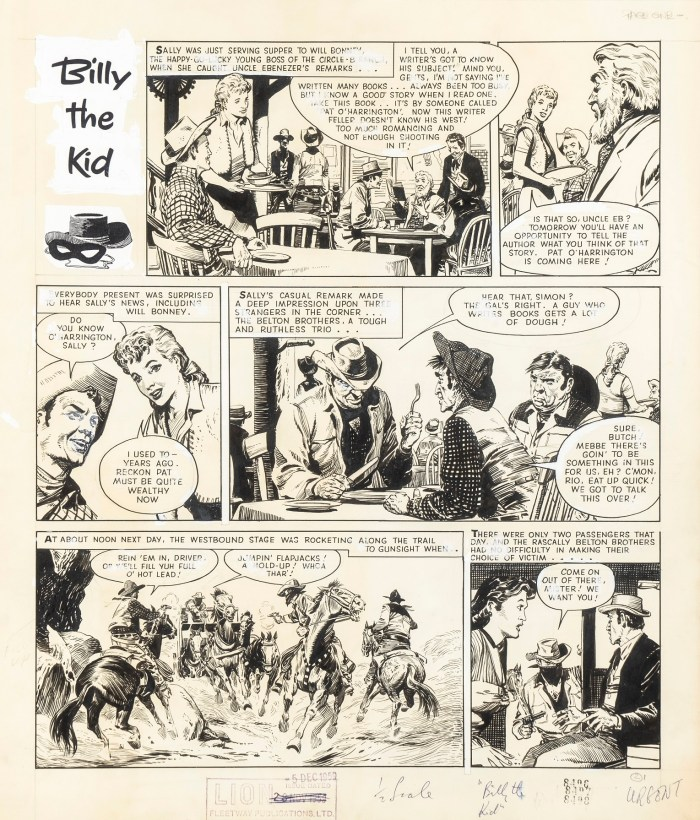"A page of ""Billy the Kid"", drawn by Don Lawrence, which appeared in the Sun comic, cover dated 12th May 1959, published by Fleetway"