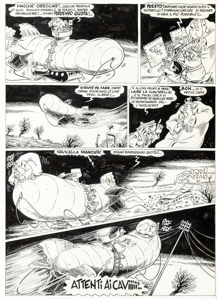 "Original art created by Bonvi for the Nick Carter story, ""In search of the Lost Heir"", published for the first time as a special register (supplement to No. 7 of Titì) by Cenisio in 1975"