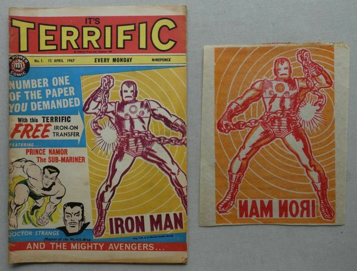 Terrific #1, cover date 15th April 1967 plus Iron Man Transfer free gift
