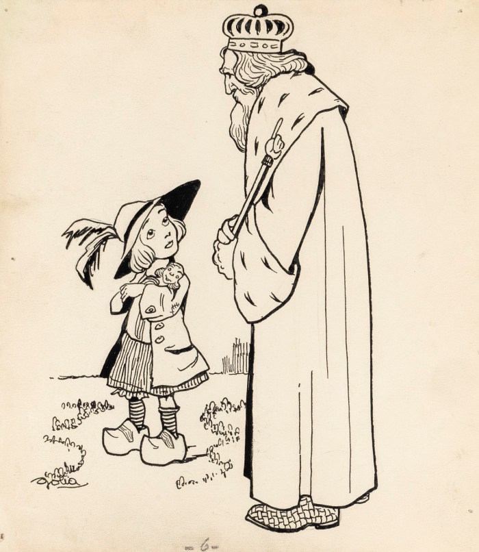 """The King and the Child"", a fairy tale illustration by Goliath (Eugenio Colmo) in the 1910s"