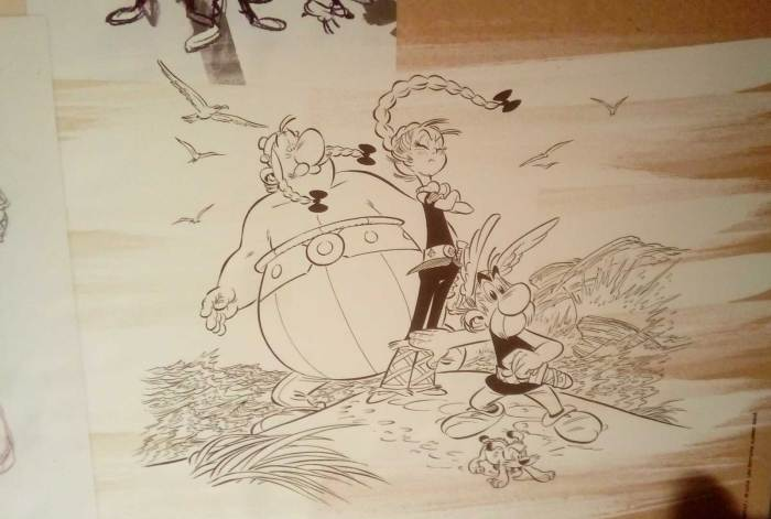 Art for Asterix and the Chieftain's Daughter by Didier Conrad. Photo: Richard Sheaf