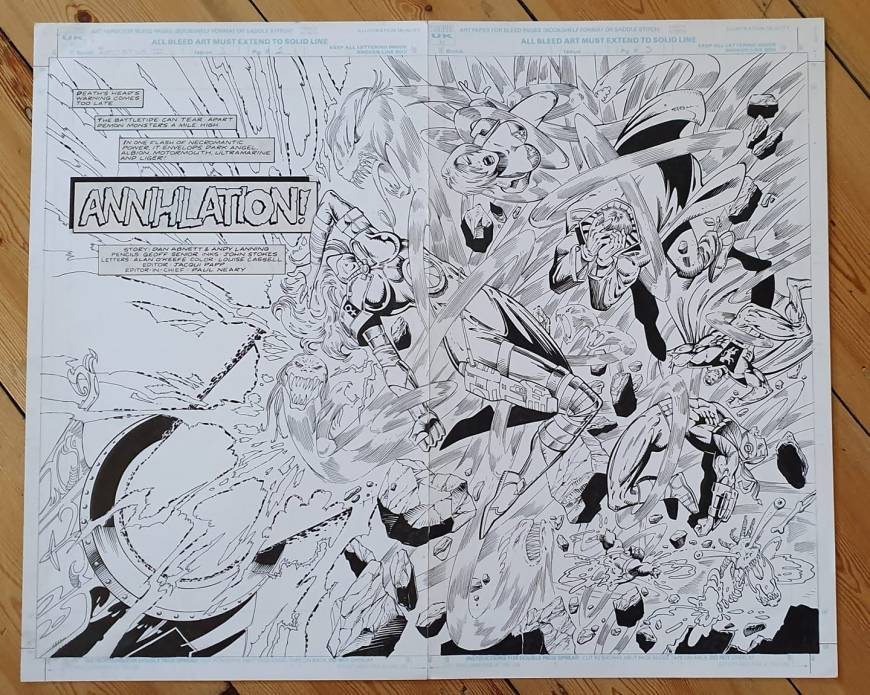 A spread from the unpublished Battletide III. Script by Dan Abnett and Andy Lanning, art by Geoff Senior. lettered, apparently, by Alan O'Keefe, a Marvel UK editor not known for his work in that area. With thanks to Adrian Clarke