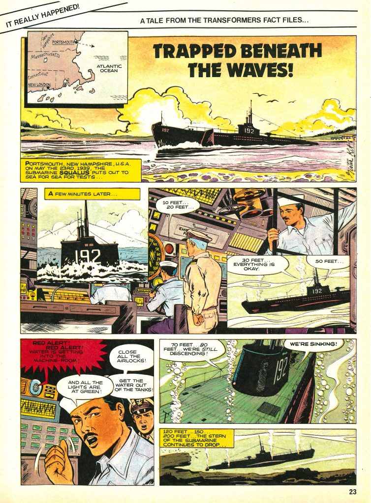 """""""Trapped Beneath the Waves"""" ran in Marvel UK's Transformers #15 - but where was it originally published?"""